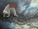 Malerei, Frau, Wut, Zerstörung